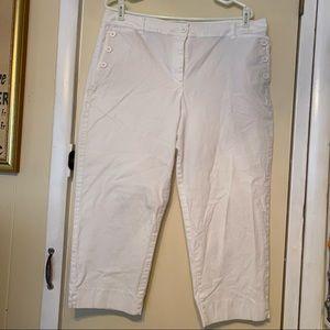 Talbots White Capris, Size 14, 3 Button pockets
